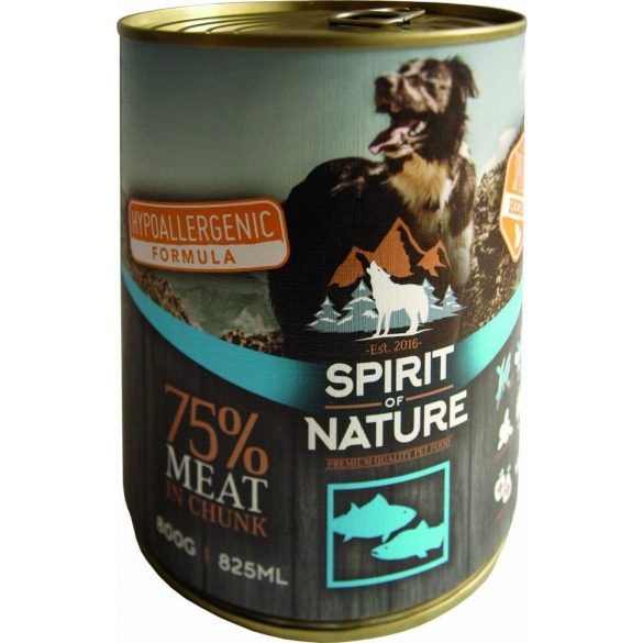 Spirit of Nature Dog Konzerv Tonhallal és Lazaccal 800g